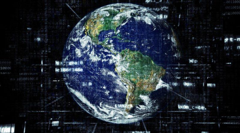 illustrasjonsbilde av jorda med binære data over