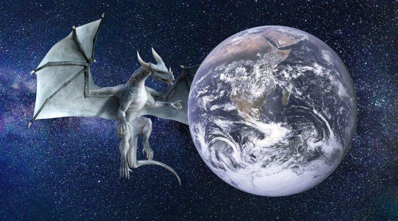 illustrasjon av begrepet myte en drage ved siden av jorda